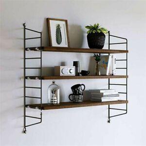 Adjustable Wood Shelf Floating Storage Rack Bookshelves Metal Frame Wall Decor