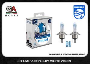 Kit 2 Lampade Philips H7 white Vision + 2 W5W Lampadine Fari Effetto Xenon 3700k