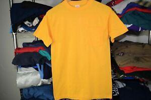 Yellow Blank vtg Pocket t shirt Selvedge 50/50 Very Thin Yellow Usa Made Small