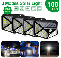 100LED Solar Power Wall Light PIR Sensor Outdoor Gargen Security Floodlight Lamp