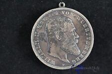 Münze 5 Mark Willhelm II König von Württemberg 1901 F mit Öse Charivari Anhänger