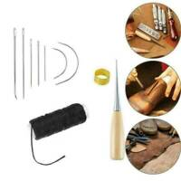 10x Leather Sewing Needles Stitching Awl Needle Kit Thread Thimble Shoes Repair