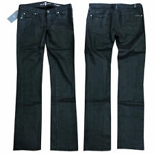 7 for all mankind Damen Jeans Hose Straight Leg Glänzender Stoff Schwarz NEU