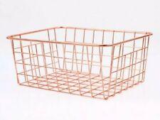 COPPER Rose Gold Metal Geometric Storage Wire Basket Multi Purpose Dine Decor UK