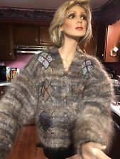 Vintage Women's mohair Fabulous Cardigan Sweater made in Italy sz S / 38