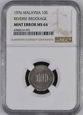 Mazuma *N263 NGC Malaysia 1976 10 Cents Mint Error Reverse Brockage MS64