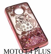 For Motorola Moto E4+ PLUS Rose Gold Owl Flower Glitter Stars Liquid Case Cover