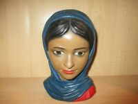 Lego Chalkware Head Bust Lady Indian India Vintage Japan 9""