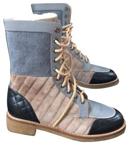 $3K CHANEL Beige Combat Military Quilted Gray Black Lace Up Boots Booties 40 10