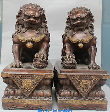 "18"" Chinese Bronze Gilt Guardian Foo Fu Dog Phylactery Door Lion Pair Statue"