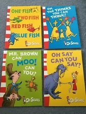 DR Seuss children book pack of 4 NEW  one fish,mr brown can moo early readers bk
