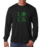 Long Sleeve Mens Luck Shirt Green Clover T-Shirt Saint Patricks Day St Paddy