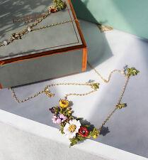 Collier Doré Court Email Jaune Rose Violet Multicolore Fleur Insect Fin Retro L7