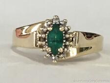 Estate Jewelry Emerald & Diamond Ring 10K Yellow Gold Band Size 7