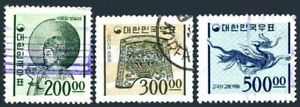 Korea South 373-374-374A unwmk granite paper,used.Mi 498-500. Ancient Art,1965.