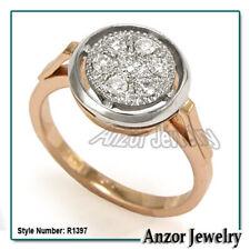 14k Solid Rose & White Gold Genuine Diamond Engagement Ring # R1397