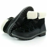LADIES MERRELL EMERY BLACK LEATHER WARM WINTER SNOW THERMAL BOOTS SIZES 3-5