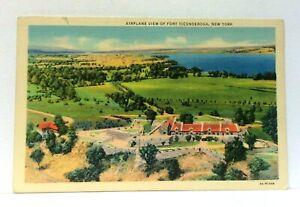 Fort Ticonderoga New York Aerial View Linen Vintage Postcard