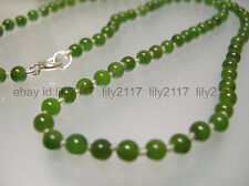 Vintage top quality 4mm nature green Jade single strand Necklace silver clasp