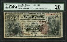 FR515 CH #2126 $50 1882 BROWN BACK NAT'L NOTE LINCOLN, IL PMG 20 VF WLM4876