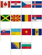 "Set of 14 Country 12x18 12""x18"" Polyester Stick Flag On 24"" Wooden Staff"