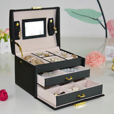 LARGE BLACK JEWELLERY BOX LEATHER FINISH JEWELRY STORAGE 2 DRAWER UK
