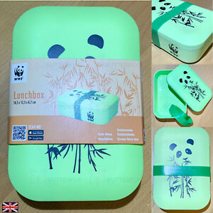 PANDA WWF REUSABLE BAMBOO ECO FRIENDLY BIO DEGRADABLE LUNCH BOX BAG BPA FREE NEW