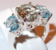 5.50ct Green Amethyst and Sky Blue Topaz ring, in Sterling Silver, Size N.