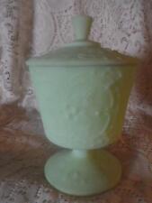Vntg~Antq LG.Fenton Lime Sherbet Satin Custard Glass Pedestal Covered Compote