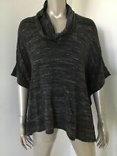 NWT SPLENDID WOMEN $138 GRAY SPECKLED PONCHO COWL NECK TOP SHIRT SMALL COVER UP