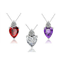 Mum Wife Gift Silver Plated Charm Jewelry Necklace Crystal Love Heart Pendant