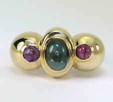 Tourmaline amethyst ring 14K yellow gold Etruscan style oval round 3 gems 2.25CT