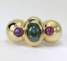 Turmalina anillo de amatista 14K oro amarillo Etrusco estilo ovalado redondo 3