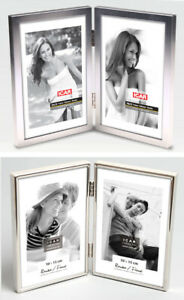 Double Picture Frame - Brushed / Chrome Silver 6 x 4', 10 x 15 cm Mother's  Day
