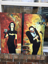 """OIL Painting- Music Man and Lady Singer(WHIMSICAL/FUN 12""""x24""""Stretched/New-2"""