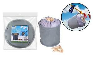 COLLAPSIBLE PEG BAG WITH DRAW STRING - CLOTHES/LAUNDRY WASHING LINE PEGS HOLDER