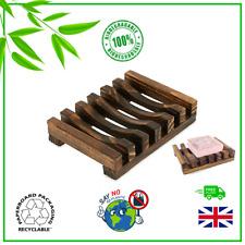 Bamboo Soap Dish Holder Rack Tray Plate Natural Wood Bathroom ✅Biodegradable✅ UK
