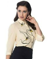 Dancing Days Banned Swan Lake Retro Vintage Style 1950's Shirt Blouse Top L