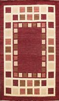 Geometric Contemporary Gabbeh Oriental Area Rug Living Room Hand-knotted 7'x10'