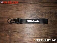 Audi Black Racing Keychain Wrist Lanyard with Metal Keyring - Free Shipping!