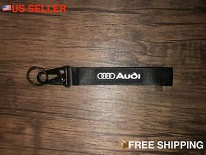 AUDI BLACK Racing Keychain Wrist Lanyard with Metal Keyring - FREE SHIPPING!