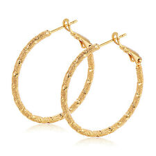 womens Gorgeous earings 18k yellow gold filled Frosted amazing hoop earrings
