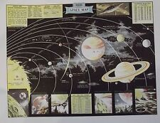 Ancien Document Carte Modern Space Map Planets Time Lapse Galaxies Radio Radar