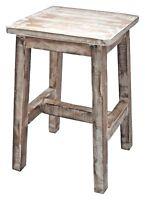 Hocker Beistelltisch 45 cm Massives Teak Holz Blumenhocker Deko Weiß Shabby