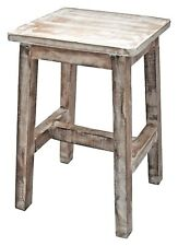 Stool Side Table 45 cm solid teak wood plant stand deco white shabby