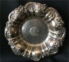 "Elegant Art Nouveau 8 3/4"" Whiting Violets Sterling Fruit Bowl #7000 circa 1915"