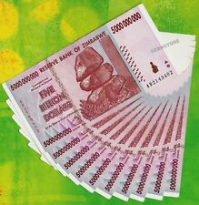 10 x 5 Billion Zimbabwe Dollars Banknotes AB 2008 Authentic Almost Uncirculated