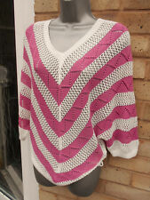 Ladies womens pink white knitted top jumper knitwear size 10