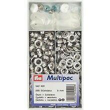 Prym Ösen mit Scheiben 8 mm, silber-farbig, 200 Stück  Multipack 542422