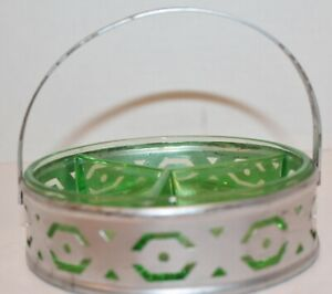 """Vintage Depression DIVIDED GREEN GLASS DISH- 3 Sections w/ METAL CADDY BASKET-5"""""""